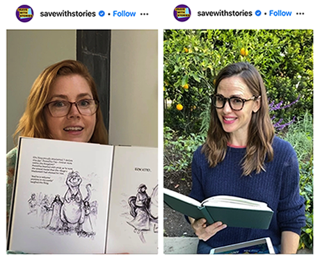 Jen Garner and Amy Adams promoting the SaveourStories Campaign