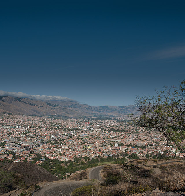 Landscape urban view of Cochabamba, Bolivia. This crowded, impoverished community lacks proper sanitation and running water in schools, trained teachers and money for school supplies — making the need for sponsorship critical. Save the Children is working hard to help kids stay healthy and stay in school through sponsorship programs.  Photo credit: Susan Warner, September 2015.